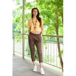 Дамски летен панталон в кафяво