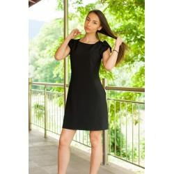 Черна права лятна рокля с...