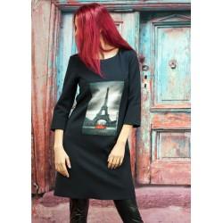 Дамска черна права рокля с...