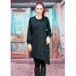 Дамска черна рокля-туника с...