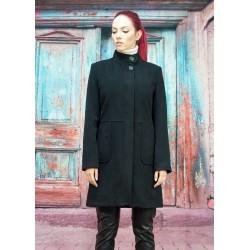 Дамско черно зимно палто с...