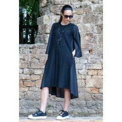 Черна ленена дамска рокля