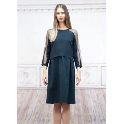 Дамска чера рокля с ефектен...