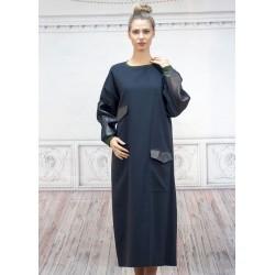 Макси рокля от черен плат и...