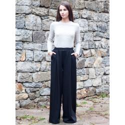 Дамски черен прав панталон
